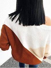 Round Neck  Loose Fitting  Color Block Knit Pullover