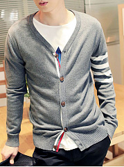 Single Breasted Striped Men'S Cardigan