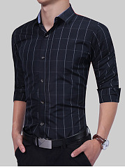 Polo Collar  Plaid Men Shirt