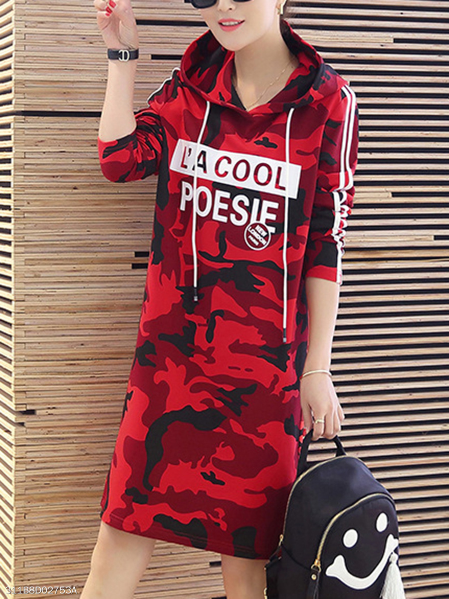 Hooded  Camouflage Letters Shift Dress