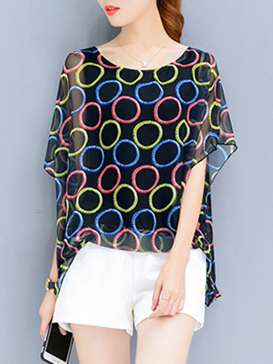 Spring Summer  Chiffon  Women  Round Neck  Printed  Batwing Sleeve  Half Sleeve Blouses