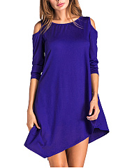 Round Neck  Asymmetric Hem  Plain Shift Dress