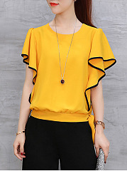 Spring Summer  Chiffon  Women  Round Neck  Drawstring  Contrast Stitching  Plain  Batwing Sleeve  Short Sleeve Blouses