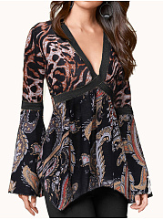 Polyester  V-Neck  Patchwork  Abstract Print Leopard  Bell Sleeve  Long Sleeve Long Sleeve T-Shirts