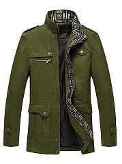 High-Neck-Flap-Pocket-Plain-Men-Coat