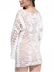 V-Neck Embroidery Hollow Out Plain Tunic