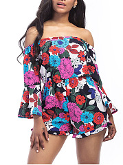 Colorful-Off-Shoulder-Floral-Bell-Sleeve-Romper