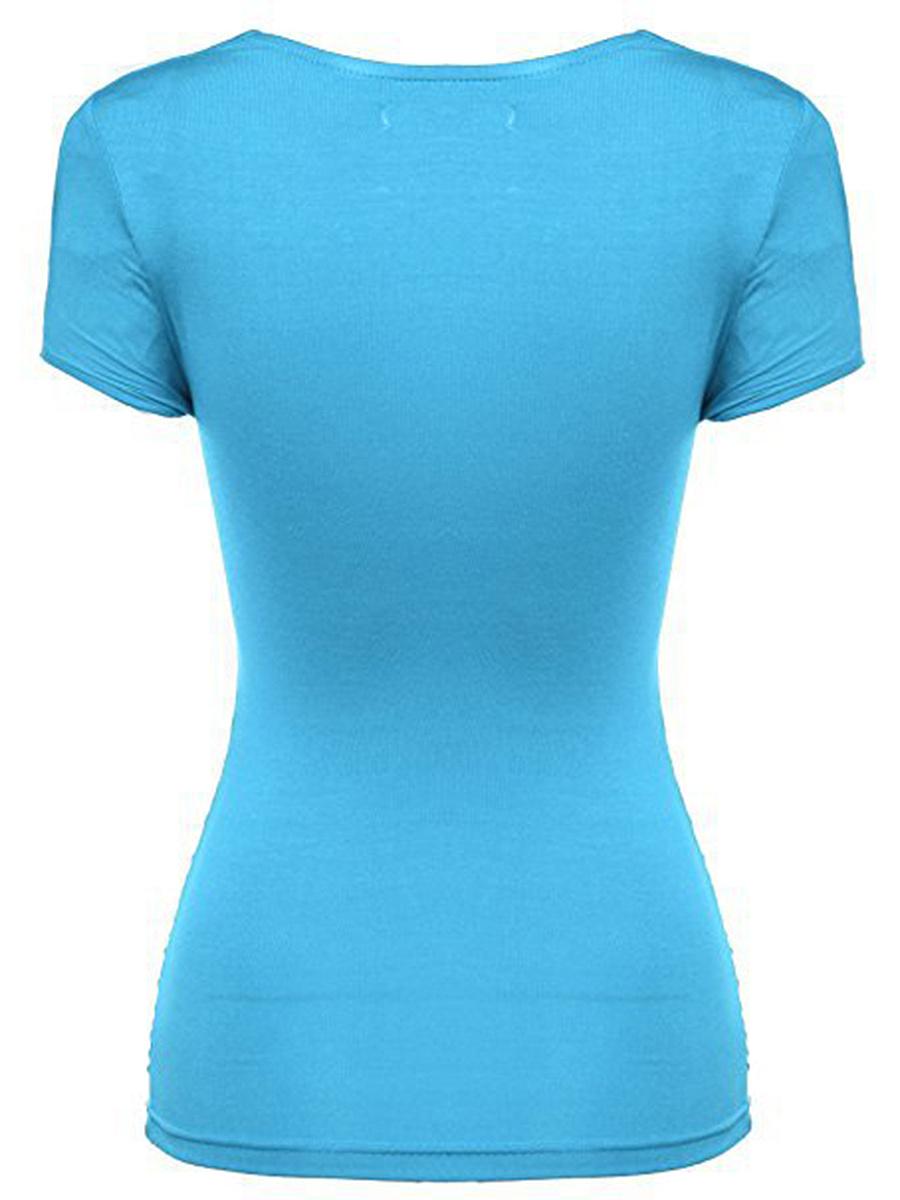 Summer  Blend  Women  Sweet Heart  Plain Short Sleeve T-Shirts