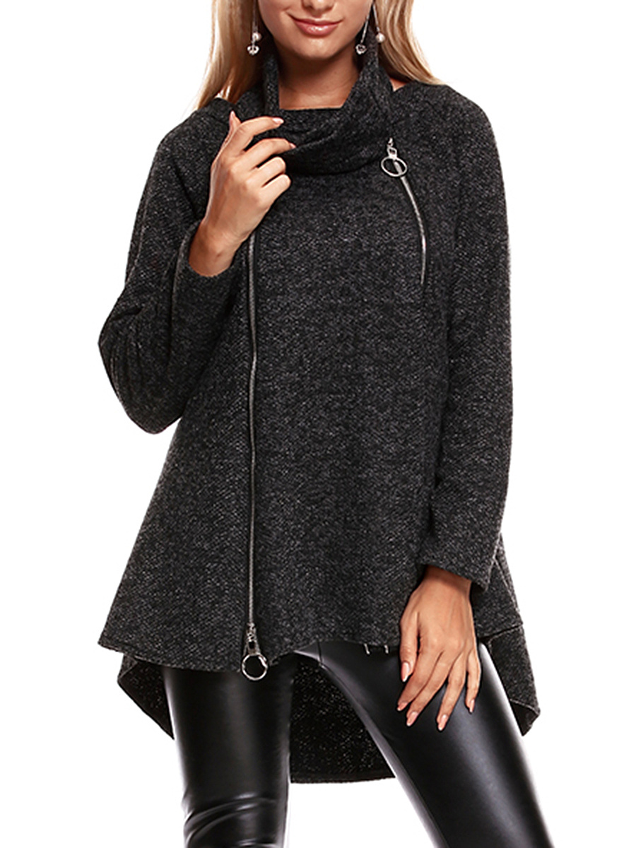Round Neck  Zips High-Low Coat With Scarf
