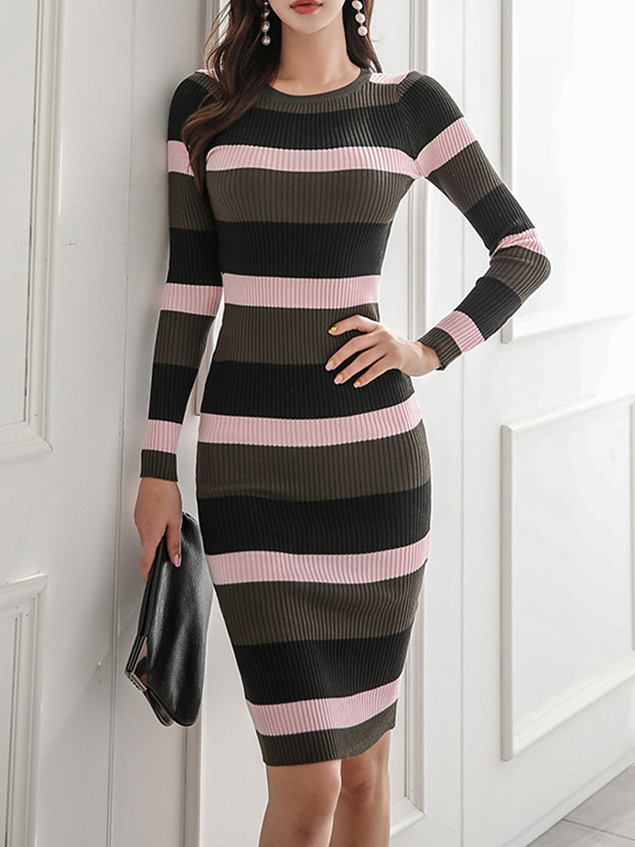 Round Neck Striped Knitted Bodycon Dress