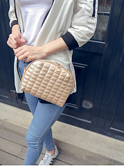 Gold Pu Quilted Chain Crossbody Bag