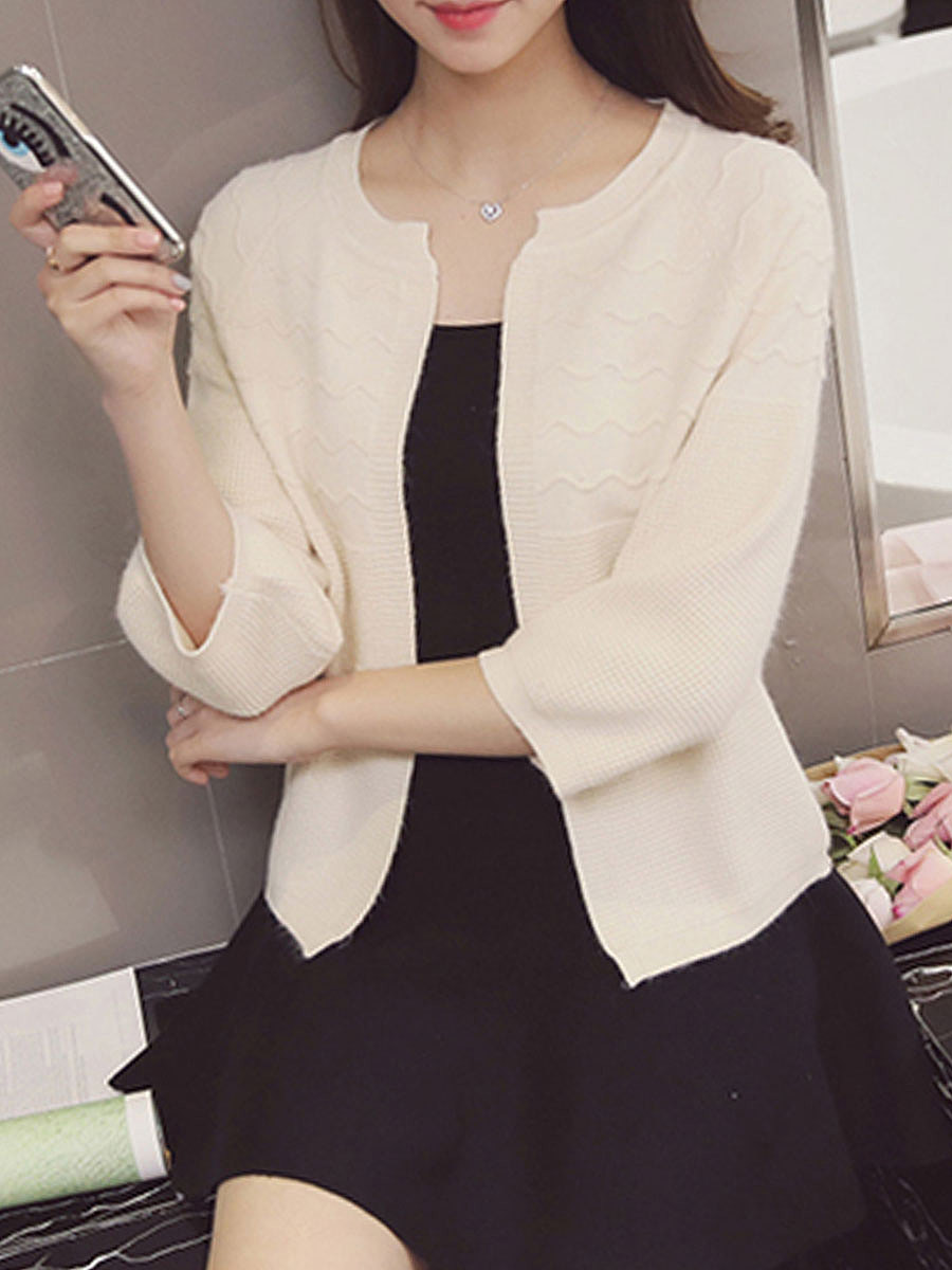 Collarless  Embossed  Three-Quarter Sleeve Cardigans