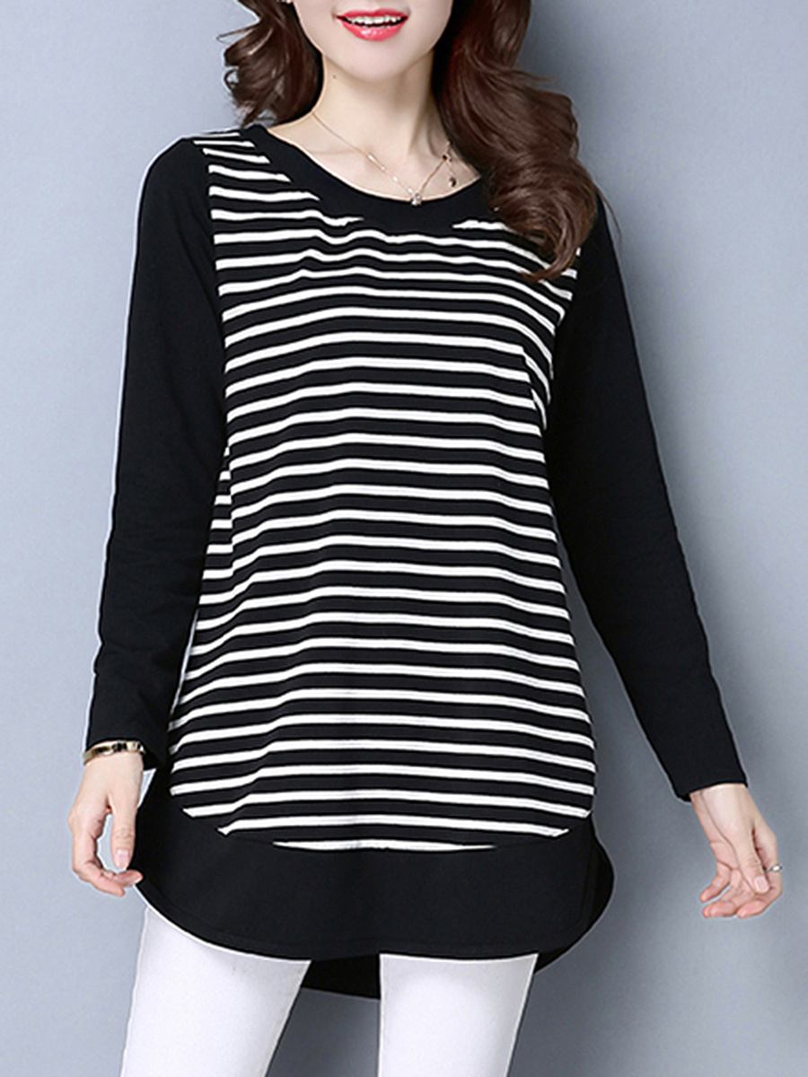 Round Neck Curved Hem Striped Long Sleeve T-Shirt