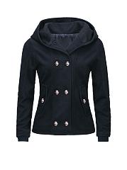 Hooded-Double-Breasted-Slit-Pocket-Plain-Coat