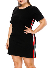 Round Neck  Contrast Trim  Plain Plus Size Bodycon Dress