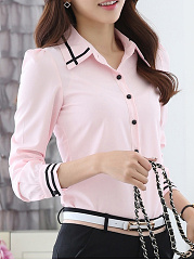 Autumn Spring  Chiffon  Turn Down Collar  Plain  Long Sleeve Blouses