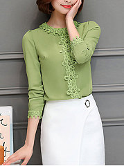 Autumn Spring  Blend  Women  Round Neck  Beading Decorative Lace  Plain  Long Sleeve Blouses