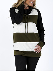 Cowl Neck  Striped  Raglan Sleeve Sweatshirt