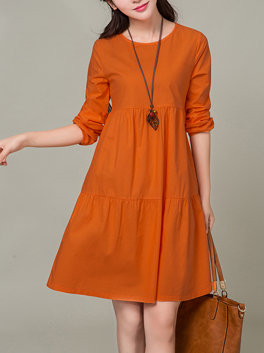 Round Neck Plain Long Sleeve Shift Dress