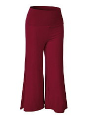 Solid Wide-Leg High-Rise Midi Casual Pants