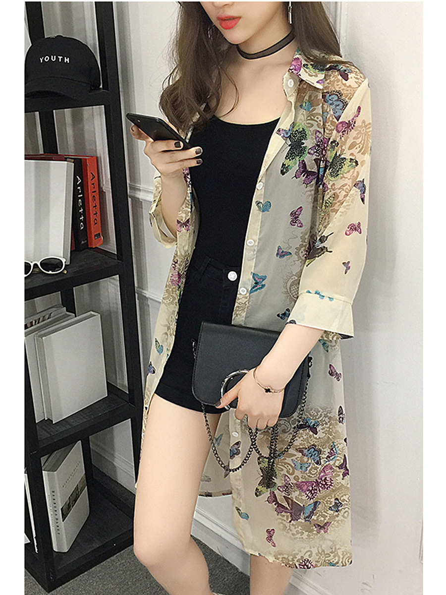 See-Through Butterfly Printed Kimono
