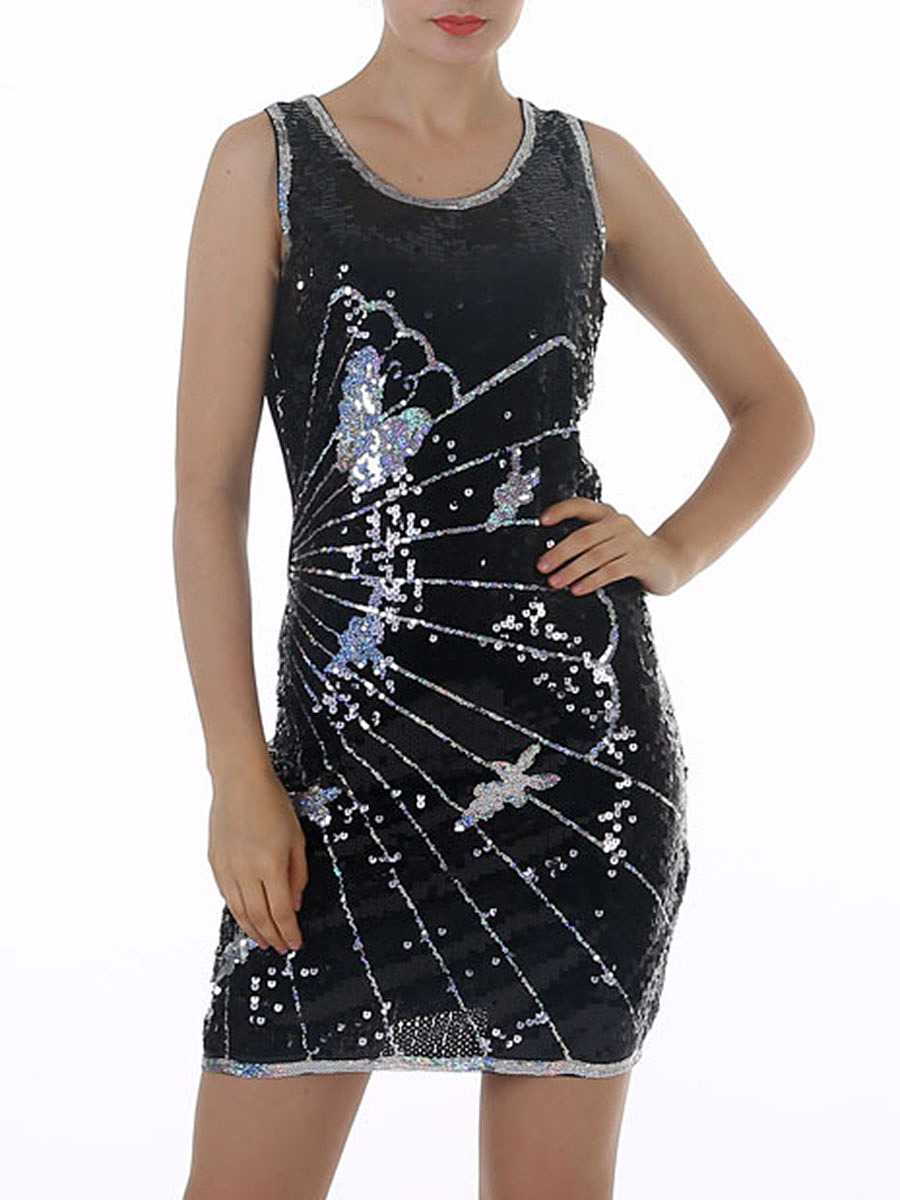 Sparkling Round Neck Sequin Butterfly Bodycon Dress
