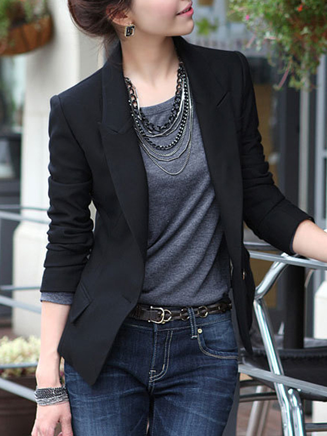 Image of Fashionmia Basic Black Notch Lapel Single Button Blazer