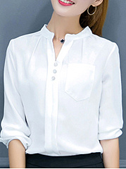 Band Collar  Patchwork  Plain Blouses