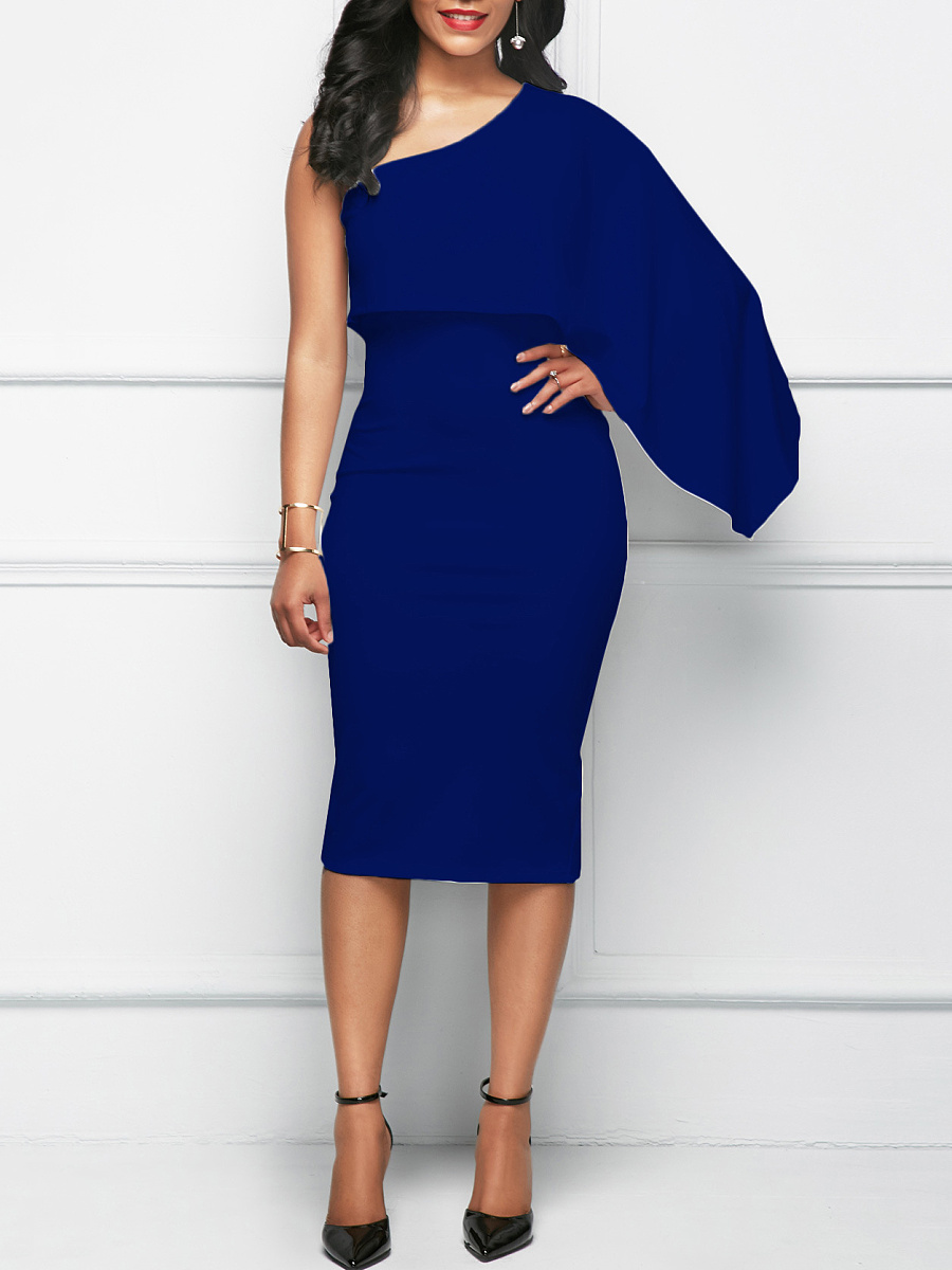 One Shoulder Plain Cape Sleeve Bodycon Dress