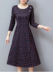 Round Neck Allover Chili Printed Pocket Maxi Dress