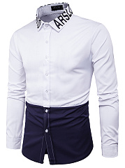 Color-Block-Letters-Turn-Down-Collar-Men-Shirts