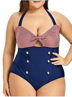 Tie Collar  Bowknot Double Breasted  Striped Plus Size One Piece