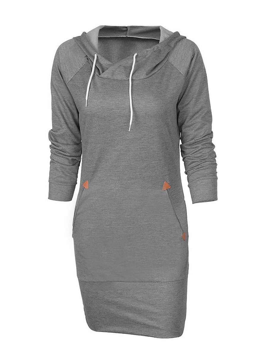Hooded Slit Pocket Plain Designed Bodycon Dress