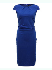 Round Neck  Ruched  Plain Plus Size Bodycon Dresses
