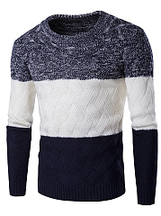 Round Neck Color Block Embossed Men'S Sweater