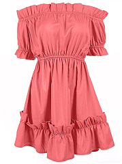 Off Shoulder Elastic Waist Ruffle Trim Plain Skater Dress