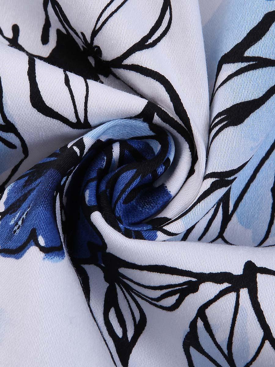 Retro Sweet Heart Floral Printed Cotton Midi Skater Dress