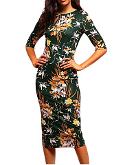 Spring Round Neck  Floral Sheath Bodycon Dress