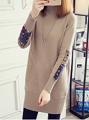 High Neck  Printed  Long Sleeve Sweaters Pullover