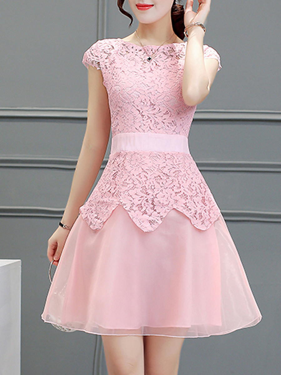 Exquisite Solid Lace Patchwork Round Neck Skater Dress