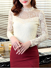 Band-Collar-Lace-See-Through-Plain-Long-Sleeve-T-Shirt