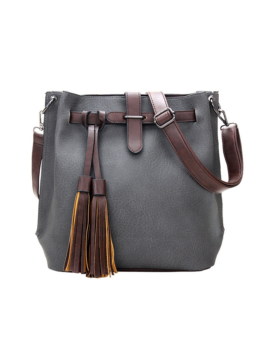 Pu Leather Color Block Long Tassel Shoulder Bag