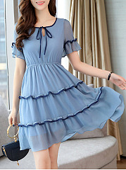 Tie Collar Ruffle Trim Bell Sleeve Skater Dress