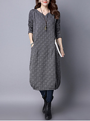 V-Neck  Plain  Cotton Blend Maxi Dress