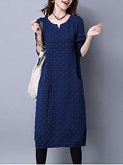 V-Neck-Plain-Cotton-Blend-Maxi-Dress