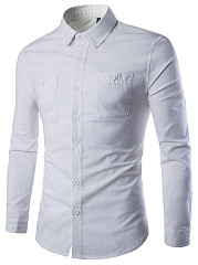 Turn Down Collar Patch Pocket Plain Men Shirts