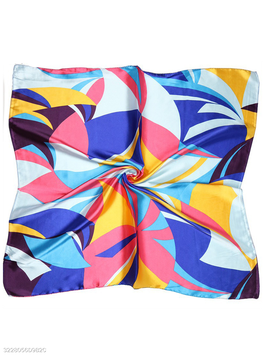 Abstract Geometric Silk Scarf