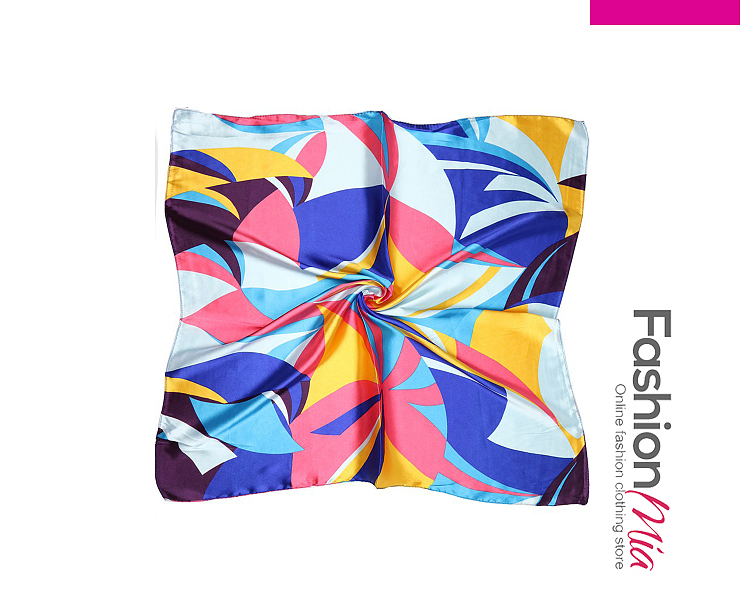 Image of Abstract Geometric Silk Scarf