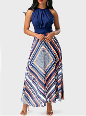 Crew Neck  Patch Pocket  Printed  Polyester Maxi Dress