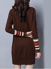 Band Collar  Patchwork  Plain Shift Dress